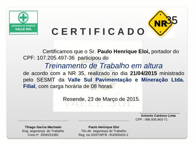 Certificado Nr 35ppt Ppt Powerpoint